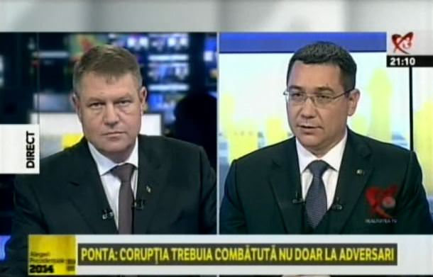 Klaus Iohannis și Victor Ponta la Realitatea TV