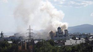 FOTO: Incendiu la capela bisericii Învierea Domnului, din Bacău