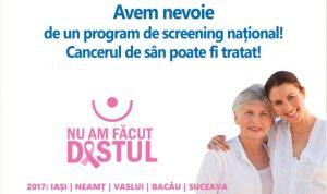 În acest week-end, examinări gratuite pentru depistarea cancerului de sân, în comunele Balcani și Berești-Tazlău