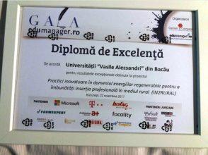 """Universitatea """"Vasile Alecsandri"""" din Bacău a fost premiată la  Gala Edumanager pentru proiectul IN2RURAL"""